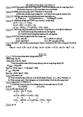 Đề kiểm tra học kì I môn Hóa học Lớp 8 - Năm học 2016-2017 - Trường THCS Nguyễn Trường Tộ (Có đáp án)