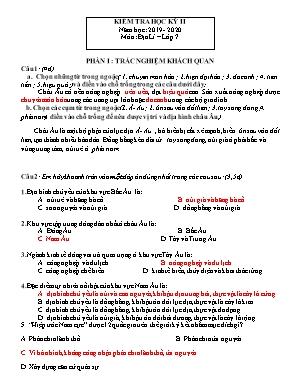Đề kiểm tra học kỳ II môn Địa lý Lớp 7 - Năm học 2019-2020 (Kèm đáp án)