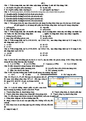 Đề kiểm tra môn Tin hoc Lớp 7 - Đề số 2 (Có đáp án)