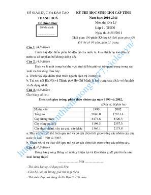 Đề thi chọn học sinh giỏi cấp tỉnh môn Địa lý Lớp 9 - Năm học 2010-2011 - Sở giáo dục và đào tạo Thanh Hóa (Có đáp án)