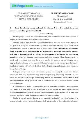 Đề thi thử Đại học đợt 2 môn Tiếng Anh - Năm học 2012-2013 - Đại học Sư phạm Hà Nội (Có đáp án)