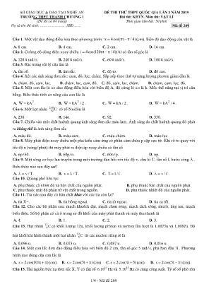 Đề thi thử THPT Quốc gia môn Vật lý lần 3 năm 2019 - Mã đề 209 - Trường THPT Thanh Chương I
