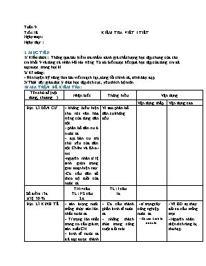 Giáo án Địa lý Lớp 9 - Tiết 18: Kiểm tra viết 1 tiết