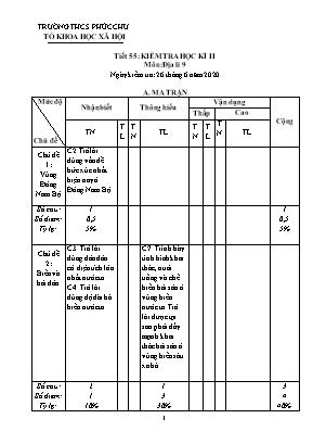 Giáo án Địa lý Lớp 9 - Tiết 55: Kiểm tra học kỳ II - Năm học 2020-2021 - Trường THCS Phúc Chu