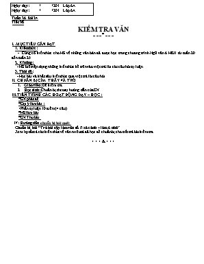 Giáo án Ngữ văn Lớp 6 - Tuần 25