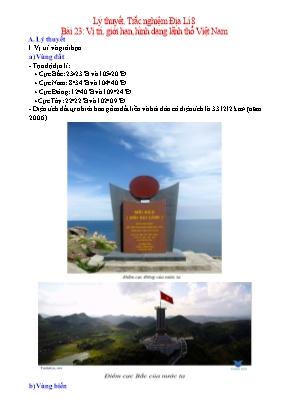 Lý thuyết và câu hỏi trắc nghiệm Địa Lí Lớp 8 - Bài 23: Vị trí, giới hạn, hình dạng lãnh thổ Việt Nam