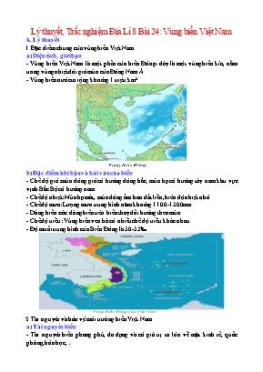 Lý thuyết và câu hỏi trắc nghiệm Địa Lí Lớp 8 - Bài 24: Vùng biển Việt Nam