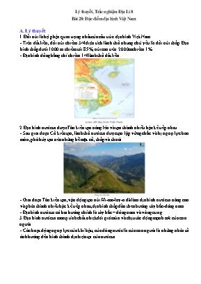 Lý thuyết và câu hỏi trắc nghiệm Địa Lí Lớp 8 - Bài 28: Đặc điểm địa hình Việt Nam