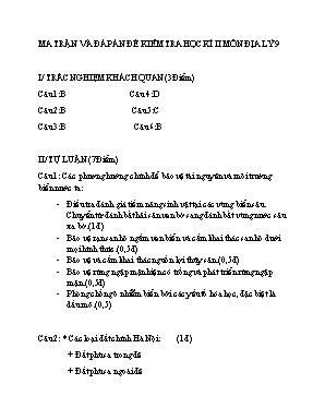 Ma trận và đáp án đề kiểm tra học kì II môn Địa lý Lớp 9