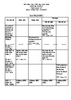 Ma trận và đề kiểm tra học kỳ I môn Địa lý Lớp 8 - Đề 2 - Năm học 2019-2020