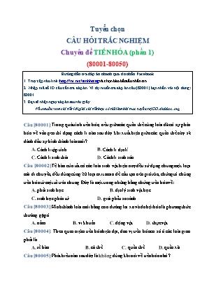 Tuyển chọn câu hỏi trắc nghiệm Sinh học Lớp 12 - Chuyên đề: Tiến hóa (Phần 1)