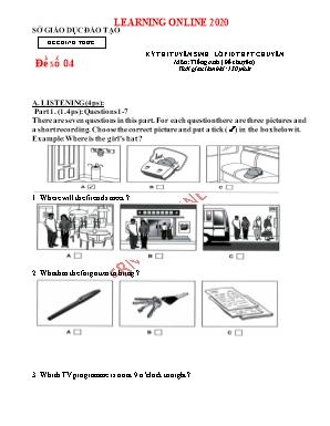 Đề thi tuyển sinh Lớp 10 THPT chuyên môn Tiếng Anh (Đề chuyên) - Đề số 04